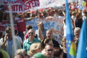 Roma, 6 giugno 2014, 10mila lavoratori comunali in piazza contro il taglio del salario