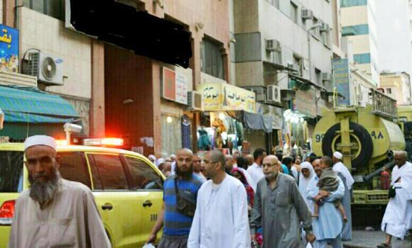 Some of the people evacuated from the hotel in Makkah.