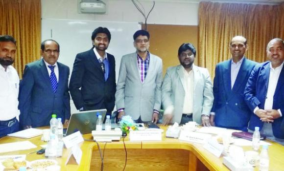 Jubail Indian school Chairman Mohammed Taher Mohiuddin, fourth left, with other members and Principal Syed Hameed.