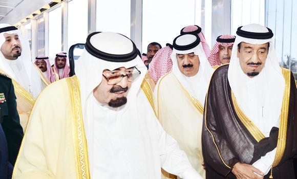 Custodian of the Two Holy Mosques King Abdullah is accompanied by Crown Prince Salman and other princes as he departs for Morocco on Tuesday. (SPA)
