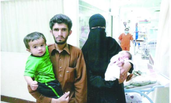 SEEKING HELP: Mohammed Ishaq with his family. (AN photo)