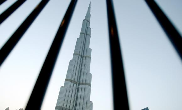 A view of the Burj Khalifa tower in downtown Dubai.