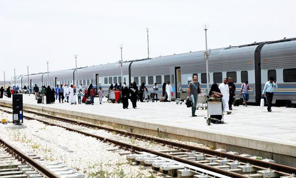 Passengers wait for their ride at the Dammam railway station on Thursday.