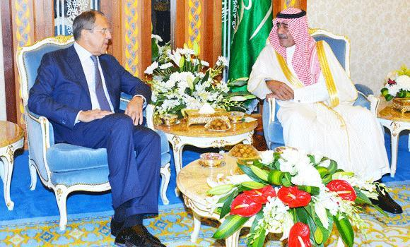 Deputy Crown Prince Muqrin holds talks with Russian Foreign Minister Sergei Lavrov who arrived in Jeddah on Friday.
