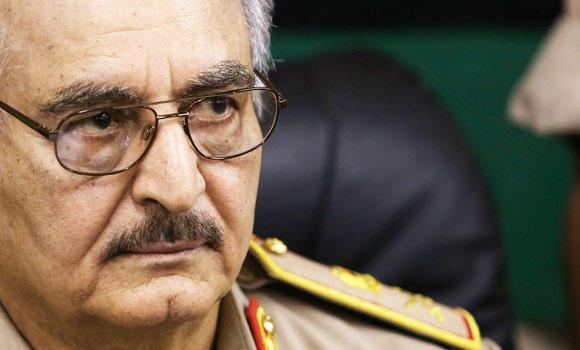 General Khalifa Haftar holds a news conference in Abyar, a small town to the east of Benghazi, on Saturday. (Reuters)