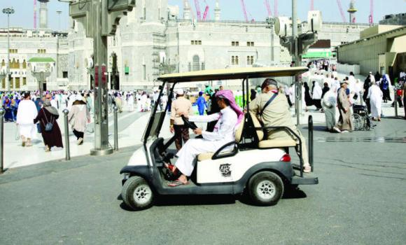 These golf carts are meant to facilitate the transportation of elderly and ailing pilgrims inside the Haram courtyard.