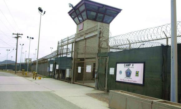 A view of the entrance to Camp 5 and Camp 6 at the US military's Guantanamo Bay detention center.