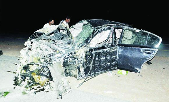The wreckage of the car that hit a stray camel on the International Highway.