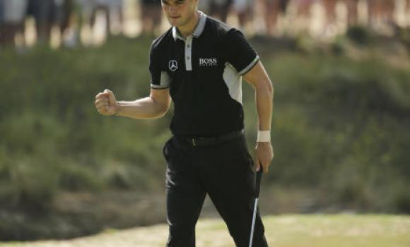 Martin Kaymer, of Germany, reacts to his birdie on the 16th hole during the second round of the US Open golf tournament in Pinehurst, N.C., Friday.