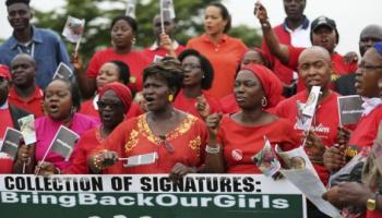 Nigerian activists protest in Lagos on June 6 against the abduction of more than 200 school girls by Boko Haram extremists in the northeaster town of Chibok on April 15. Gunmen again reportedly kidnapped 20 women from a settlement near Chibok on Monday.