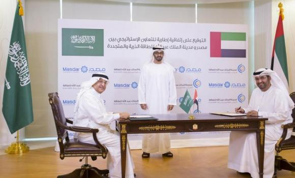 Dr. Hashim bin Abdullah Yamani, president of King Abdullah City for Atomic and Renewable Energy and Dr. Sultan Ahmed Al-Jaber, chairman of Masdar, signing the strategic framework agreement between Masdar and K.A.CARE at the presence of General Sheikh Mohammed bin Zayed Al Nahyan, Crown Prince of Abu Dhabi and Deputy Supreme Commander of the UAE Armed Forces, on Monday in Abu Dhabi.