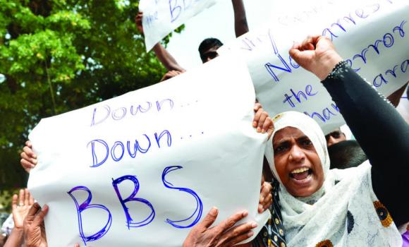 Muslims demonstrate against radical Buddhist group Bodu Bala Sena (BBS) at a makeshift camp in Beruwala, Sri Lanka, on Wednesday.