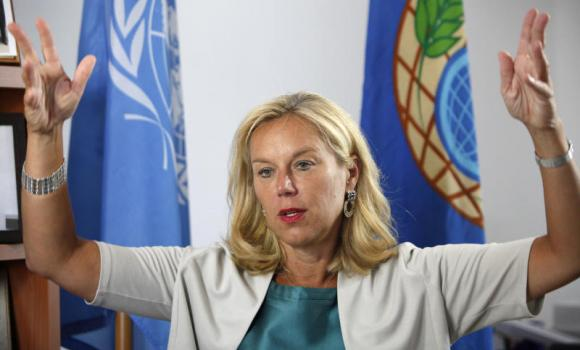 "Sigrid Kaag, special coordinator of the Organization for the Prohibition of Chemical Weapons (OPCW) for the UN speaks during an interview with Associated Press at a UN compound in the UN buffer zone in capital Nicosia, Cyprus, on Monday. Kaag said that ""100 percent"" of Syria's chemical weapons material has been removed or destroyed inside the war-torn country, hailing the development that beat a June 30th deadline as a significant milestone for the people of Syria and the region."