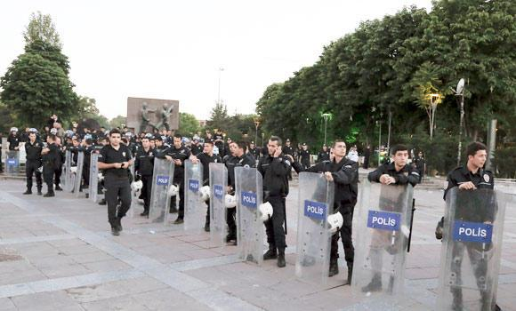 Riot police in the city's main Kizilay Square on the first anniversary of last year's protests in Ankara, Turkey, in this May 31, 2014 photo. (AP)