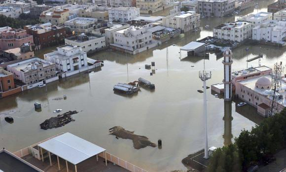 A flooded neighborhood is shown in this file photo of the January 2011 deluge in Jeddah.