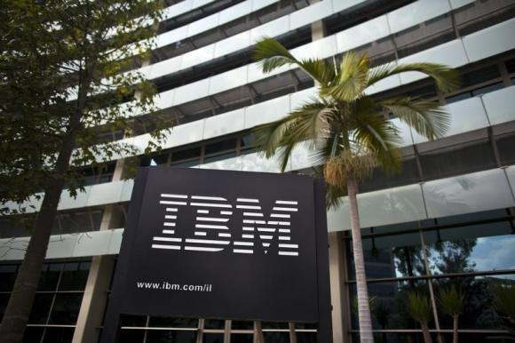 The IBM logo is seen outside the company's offices in Petah Tikva, near Tel Aviv.