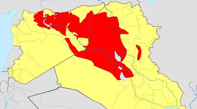 Territory controlled by the ISIL as of June 2014 in Syria and Iraq.