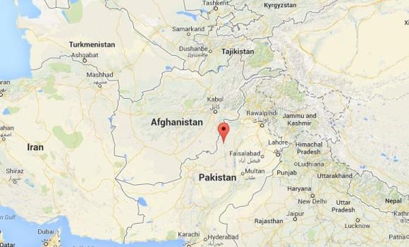 A Google map shows the Waziristan province of Pakistan, some 100 militants were killed in a government airstrike Sunday morning.
