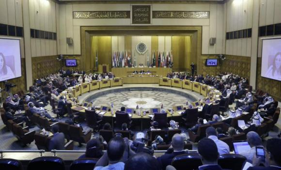 General view showing an Arab foreign ministers' meeting at the Arab League headquarters in Cairo, Egypt, Monday, July 14, 2014. Arab foreign ministers meet to discuss the ongoing Israeli-Palestinian conflict in Gaza.