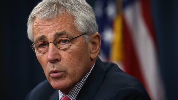 Secretary of Defense Chuck Hagel briefs members of the media July 3, 2014 at the Pentagon in Arlington, Virginia.