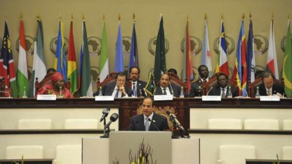 Egypt President Abdel Fattah al-Sisi talks during the 23rd African Union Summit (AUS) in Malabo in this June 26, 2014.