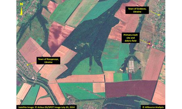 In this annotated photo dated July 20, 2014 provided by Airbus DS/AllSource Analysis, a satellite image shows the primary crash site, at top right, of Malaysia Airlines Flight 17 located near Hrabove, eastern Ukraine.