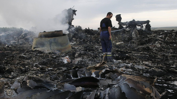 An Emergencies Ministry member walks at the site of a Malaysia Airlines Boeing 777 plane crash near the settlement of Grabovo in the Donetsk region, July 17, 2014.