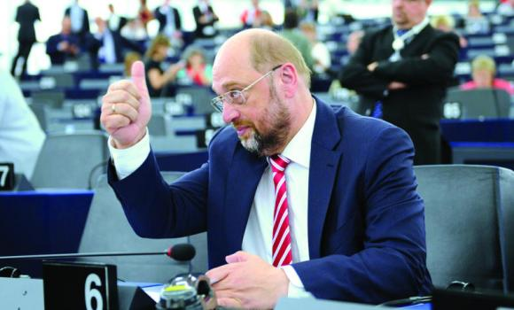 Martin Schulz gestures as he waits for the results of the election of the president of the European Parliament in Strasbourg on Tuesday.