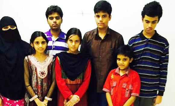 Members of the Indian family who are going home this week after staying illegally in the Kingdom for 14 years.