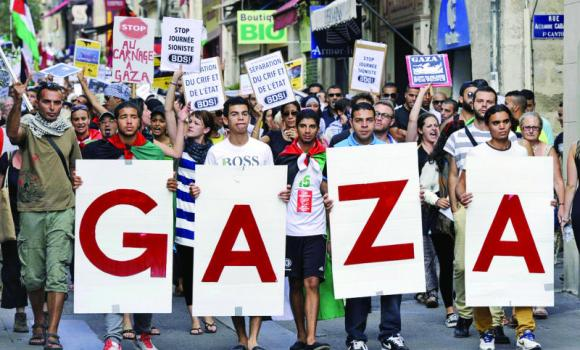 Protesters take part in a demonstration in Montpellier, southern France, to denounce Israel's military campaign in Gaza.