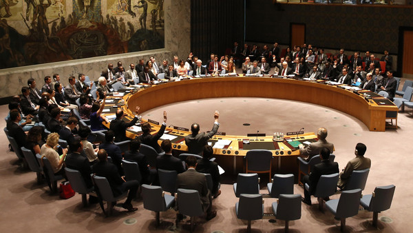 The United Nations Security Council unanimously votes on a resolution authorizing humanitarian aid access into rebel-held areas of Syria, during a United Nations Security Council meeting at U.N. headquarters in New York.