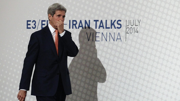 U.S. Secretary of State John Kerry arrives for a news conference in Vienna July 15, 2014.