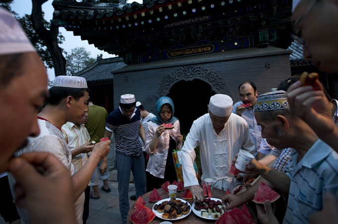 Chinese Muslims gather to break their fast during Ramadan at the Niujie mosque in Beijing.