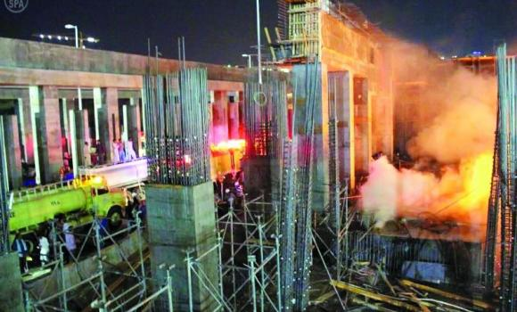 A view of the fire that gutted wooden scaffolds at the construction site of the Haram expansion project in Makkah. (SPA)
