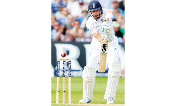 England's Joe Root plays a shot during day three of the first Test between England and India in England on Friday.