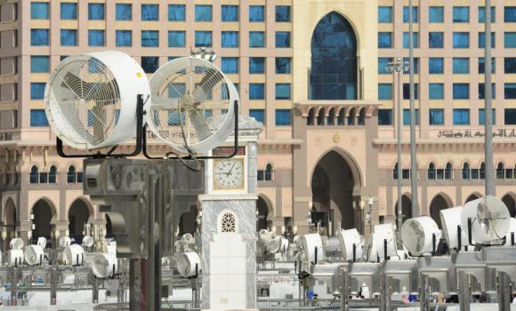 The spray fans in the Grand Mosque at Makkah. The fans operate around the clock during both Ramadan and Haj, pausing for only two minutes every 8 minutes.