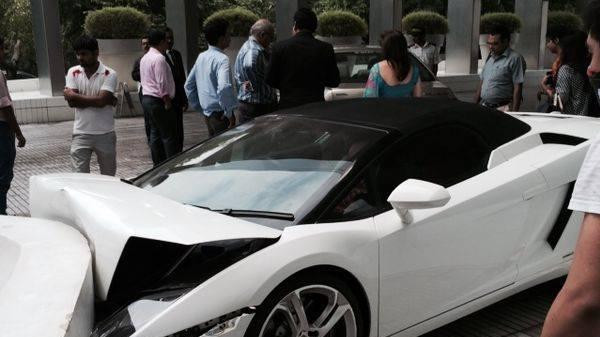 A photograph of the aftermath at Le Meridien hotel showed the severely crumpled front end of the sleek white supercar.