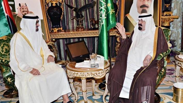 Abu Dhabi Crown Prince Sheikh Mohammed bin Zayed al-Nahyan seen meeting with Saudi King Abdullah bin Abdulaziz in the kingdom on Saturday.