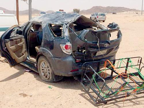 The car involved in the fatal accident on Khamis Mushayt-Riyadh Road.