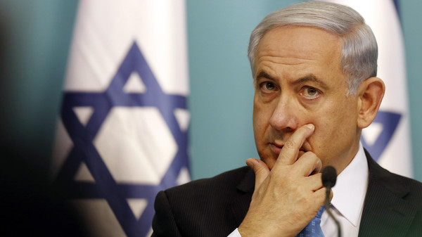 Israel's Prime Minister Benjamin Netanyahu gestures during a news conference at his office in Jerusalem.