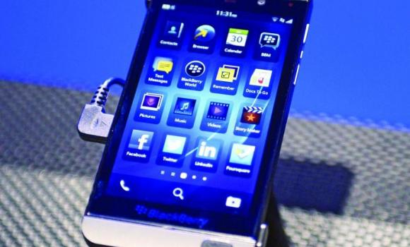 The BlackBerry 10 mobile platform is seen after being unveiled at the New York City Launch at Pier 36 in New York City.