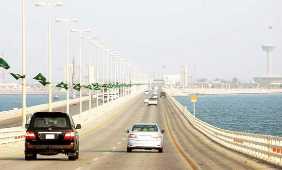 The 25-km bridge serves as a vital link between Saudi Arabia and Bahrain.