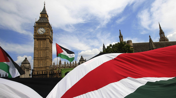 Demonstrators carry Palestinian flags as they protest outside the Houses of Parliament in central London July 26, 2014.