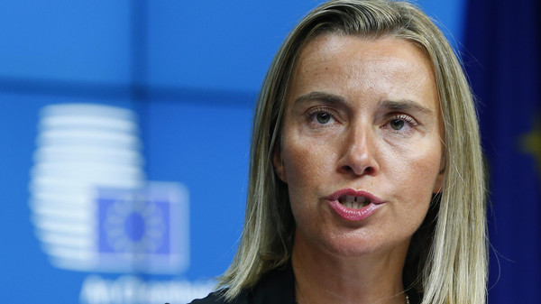 Newly elected European High Representative for Foreign Affairs Federica Mogherini of Italy attends a news conference during an EU summit in Brussels.