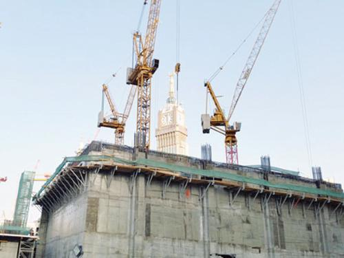 The foundation work for one of the two minarets under construction in the Grand Mosque in Makkah.
