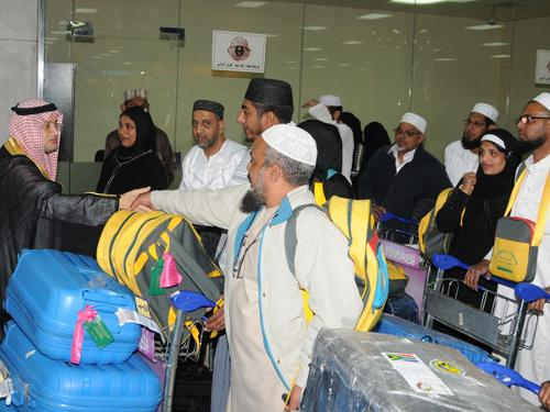 The first batch of Haj pilgrims from South Africa is being received at King Abdulaziz International Airport in Jeddah on Tuesday.