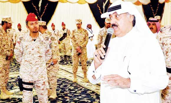 National Guard Minister Prince Miteb bin Abdullah addresses guards in the Rafha Province on Wednesday. (SPA)