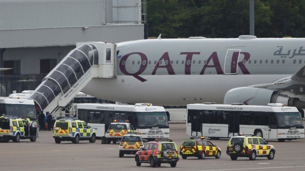 The passenger plane was escorted after the pilot allegedly reported a 'possible device on board.'