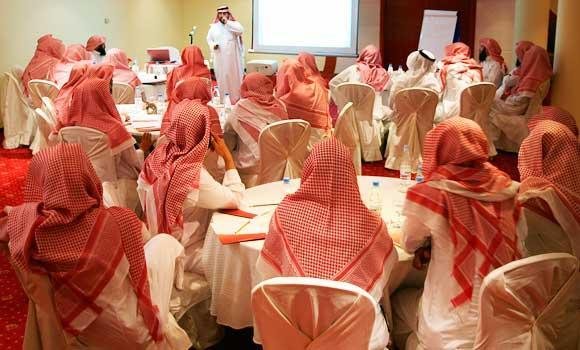 Saudi members of the Committee for the Promotion of Virtue and Prevention of Vice, or religious police, attend a training course in Riyadh, in this Sept. 1, 2007 file photo.