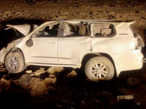 The car involved in the fatal accident that claimed the lives of three members of a family in Taima.